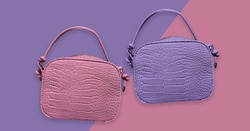 Various of Leather mock croc tote handbag isolated. Animal texture handbag. Woman elegant handbag with two handles in a showcase. Fashion women accessories. Fashion concept. Pattern