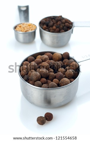 Various of spices (mustard and pepper) on Metal measuring spoon. Shallow DOF.
