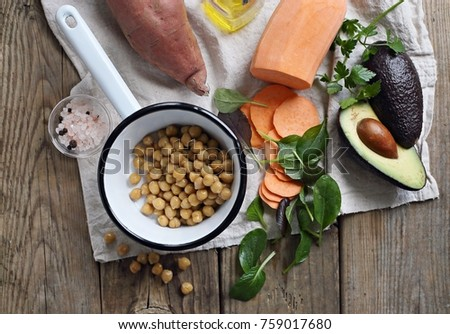 Various of super food products included sweet potato, spinach,avocado and chick pea. Healthy eating concept ingredients. Overhead view #759017680