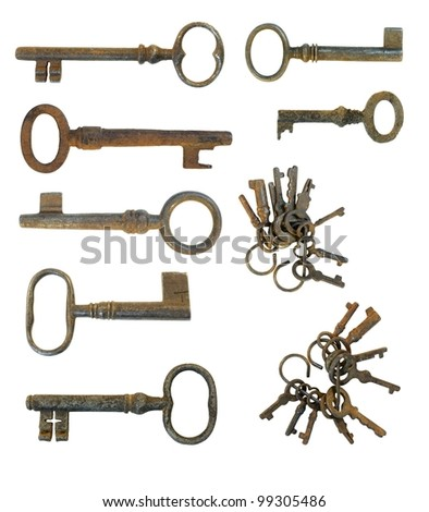 various old keys isolated on a white background / old keys