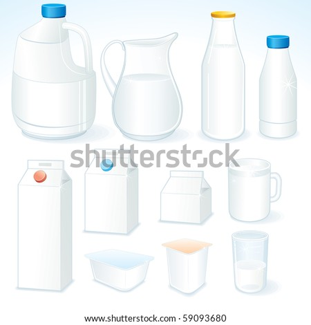 Various packages for dairy products  ( id=59090101 vector version)