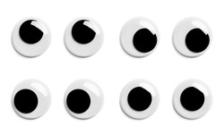 Various Pairs of Googly Eyes Isolated on White Background.