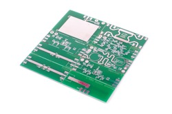 Various panelised radio frequency printed circuit boards PCBs isolated on the white background
