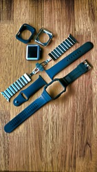 Various parts of smart watch.Watchband. Silicone strap for sports watches.