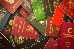 Various passports of citizens of many countries and regions of the world