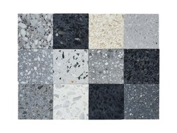 various pattern and color of real terrazo stone samples ,classic italian floor composed of natural stone, granite, quartz, marble, glass and concrete isolated on white background with clipping path.