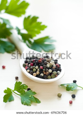various pepper in wooden spoon with parsley on background