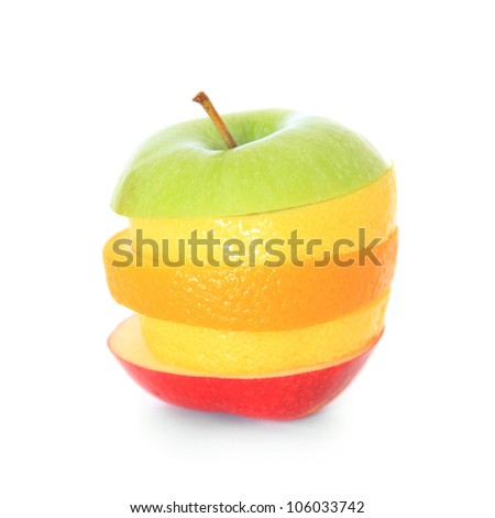 Various piled fruit slices. All on white background.