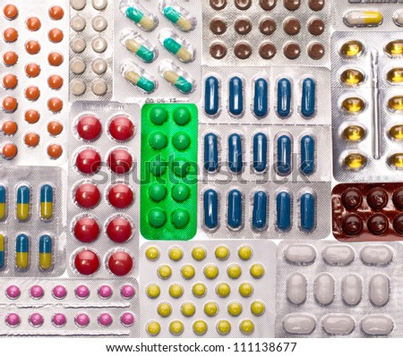 Various pills. Background or texture