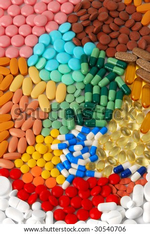 Various pills, tablets and capsules