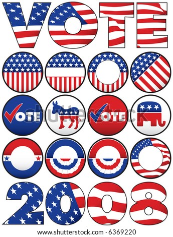 Various Political Buttons and Icons