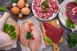 Various raw meat, sources of animal protein. Carnivore diet concept