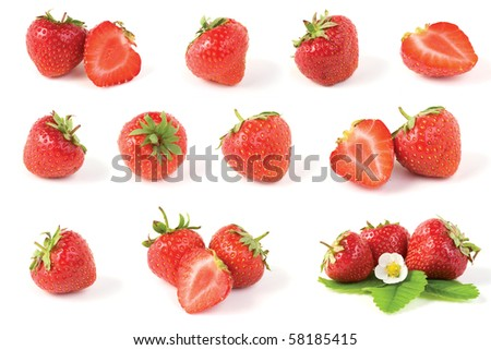 Various red strawberry fruits with green leaves isolated on white background