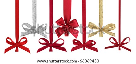 Various ribbons with bows for christmas balls, isolated on the white background, clipping path included.