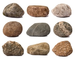Various rocks isolated on white background