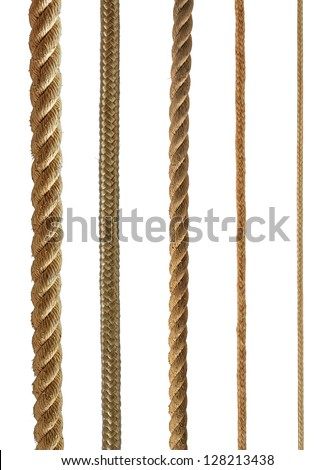 various ropes collection isolated on white