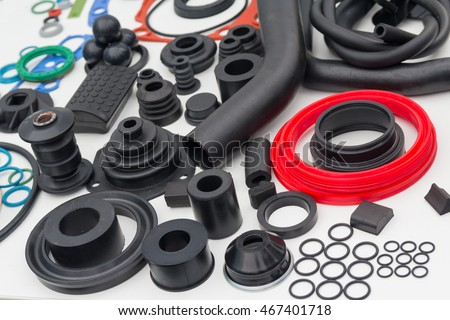 Various rubber products and sealing products at the exhibition stand. Industry #467401718