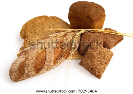 Various rye bread with a wooden board with stems isolated on a white background