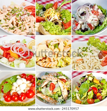 Various salads collage including mix salads, taco salad, greek salad, caesar salads, caprese salad and coleslaw salad