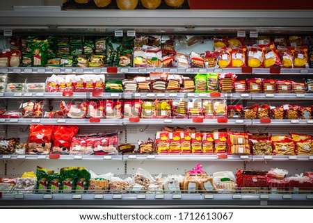 Various sausages on the shelf in a Makro Supermarket at On Nut Road, Phra Khanong Bangkok Thailand Stock foto ©