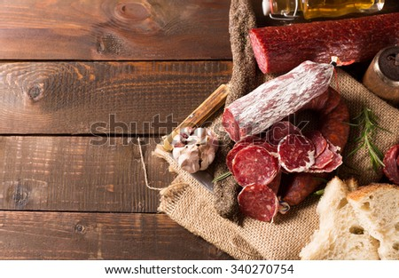 Shutterstock various sausages with free space for text