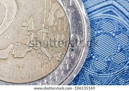 Various scattered Euro currency bills and coins