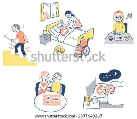 Various senior illnesses and long-term care scenes Stock photo ©