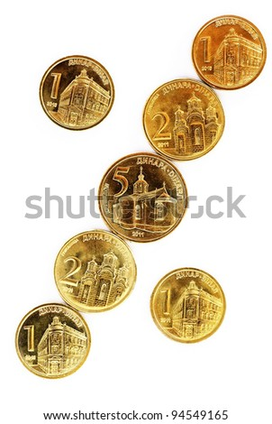various serbian dinars coins over white background