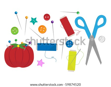 Various sewing materials - RASTER (vector version also available)