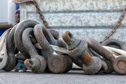 various shackles on a construction site
