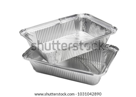 Various shape of the foil for food. Aluminum box. Selective focus. Isolated.