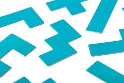 Various shapes, blue puzzle elements, pattern, white background abstract. Scattered unorganized parts, simple different unlinked disconnected figures, no connection, solving problems abstract concept