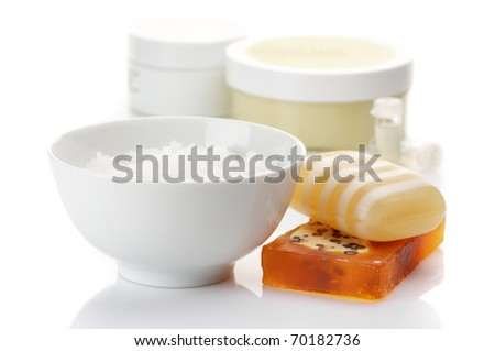 Various SPA accessories on white background.