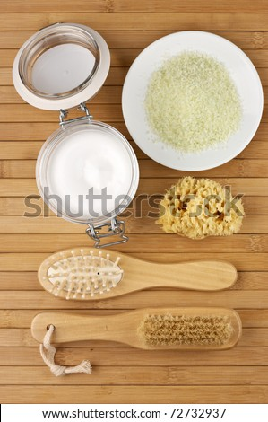 Various SPA accessories set on wooden background. Top view, flat lay.