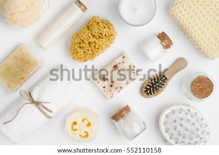 Various spa and beauty threatment products isolated on white background