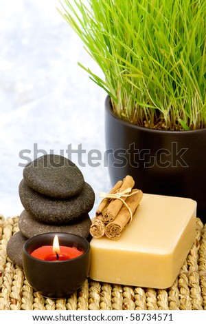 Various spa items with wheatgrass