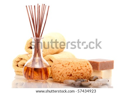 Various spa objects on white background