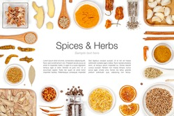 various spices and herbs on white background with copy space. flat lay frame composition top view