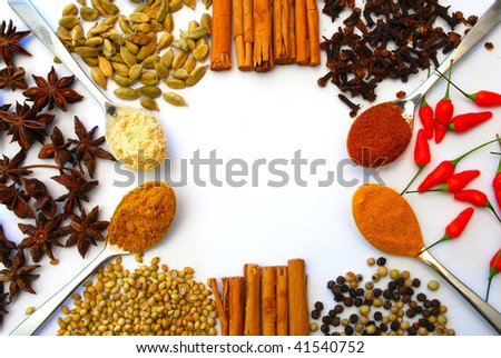 various spices and spoons in a pattern
