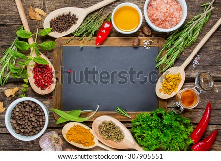 Various spices and Vintage blackboard with copyspace - Shutterstock ID 307905551