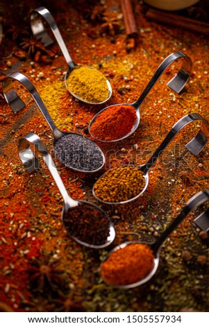 Various spices in spoons, spices and herbs composition