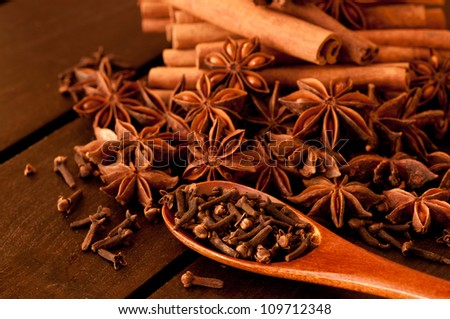 Various spices on a wooden table