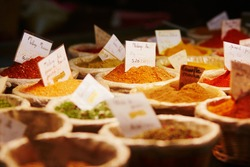 Various spices on farmer market in France