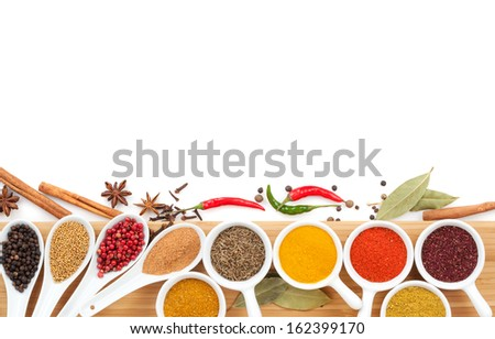 Various spices selection. Isolated on white background