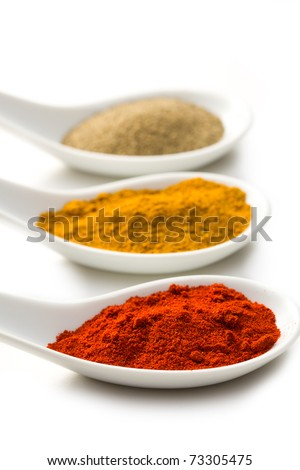 various spicy powder on white background