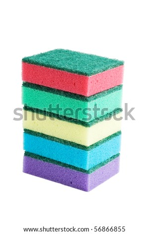 Various sponges  isolated on a white background
