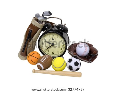 Various sports equipment scattered around an old fashion alarm clock - path included