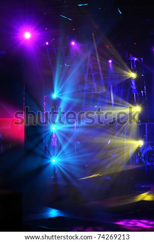 various stage lights of different colors - stock photo