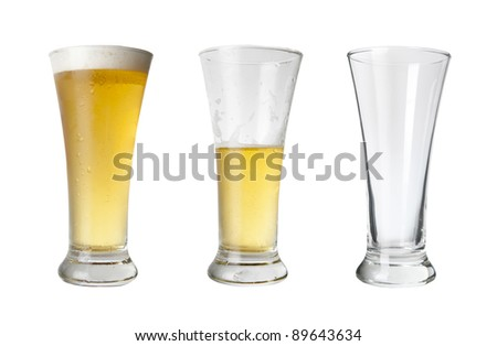 Various stages of drinking a beer