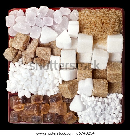 Various sugar  in  box